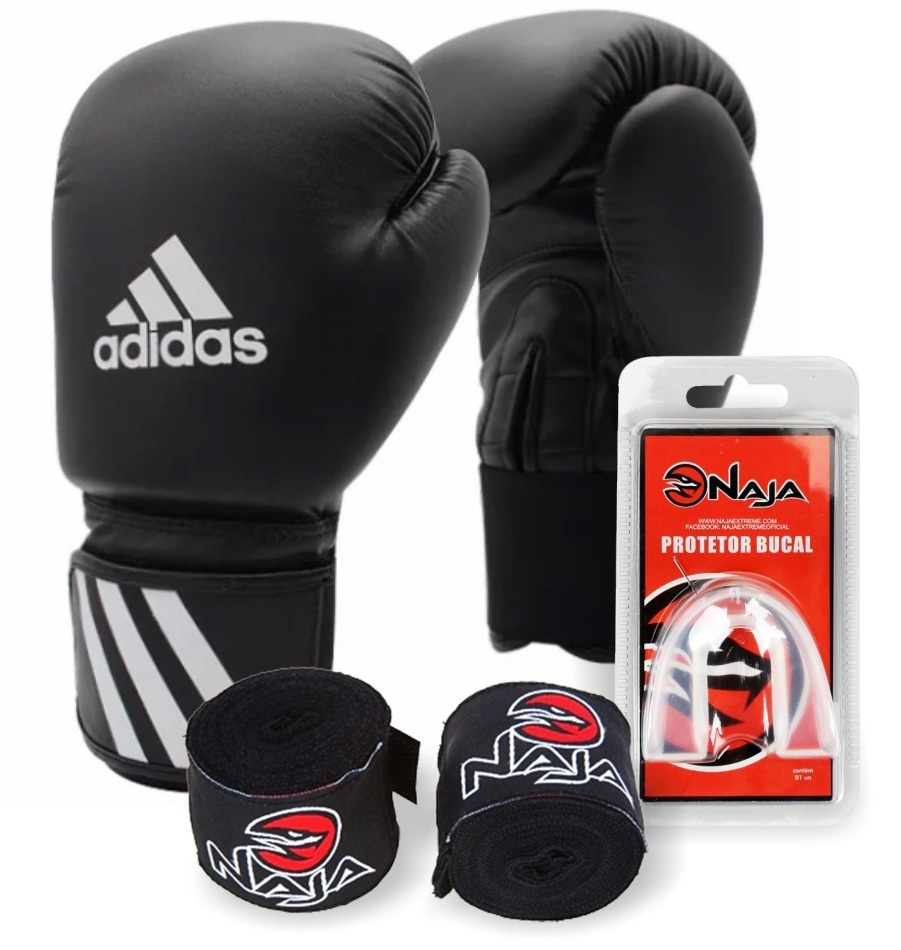 ead3afc6a kit luva de boxe muay thai adidas speed preto+bucal+bandagem. Carregando  zoom.