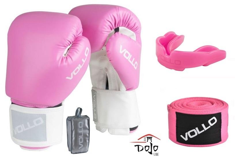 e4e979553 kit luva de boxe vollo rosa + bandagem + protetor bucal. Carregando zoom.