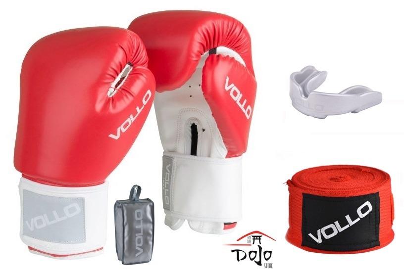 02ed745f0e kit luva de boxe vollo vermelha + bandagem + protetor bucal. Carregando  zoom.