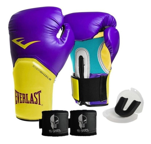 kit luva everlast roxo boxe e muay thai + bandagem e bucal