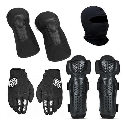 kit luva motocross trilha + cotoveleira + joelheira + touca