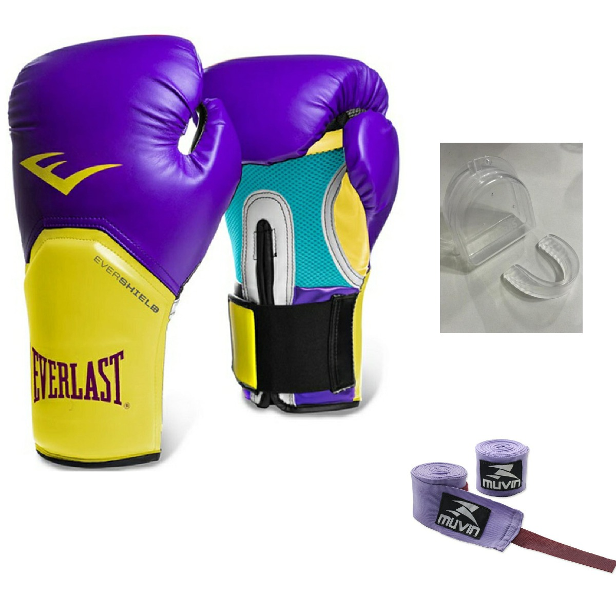 6e9a63e69 kit luva muay thai box everlast roxa ama+band lilás3m+bucal. Carregando zoom .