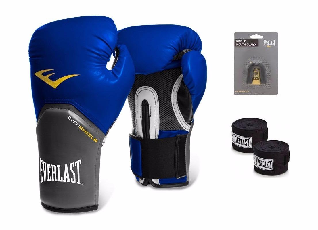 42841a5f1 kit luva muay thai boxe everlast azul bandagem bucal. Carregando zoom.