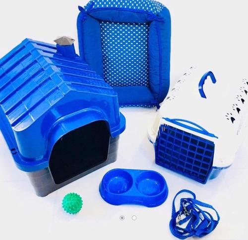 kit luxo casinha plastica transporte caminha para cães peq