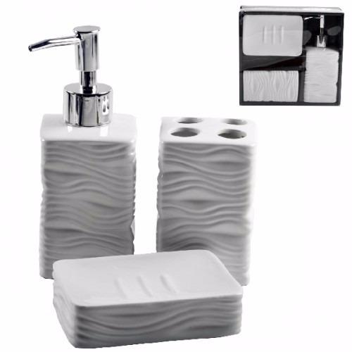 kit luxo para banheiro de porcelana 3 peças dispenser lindo