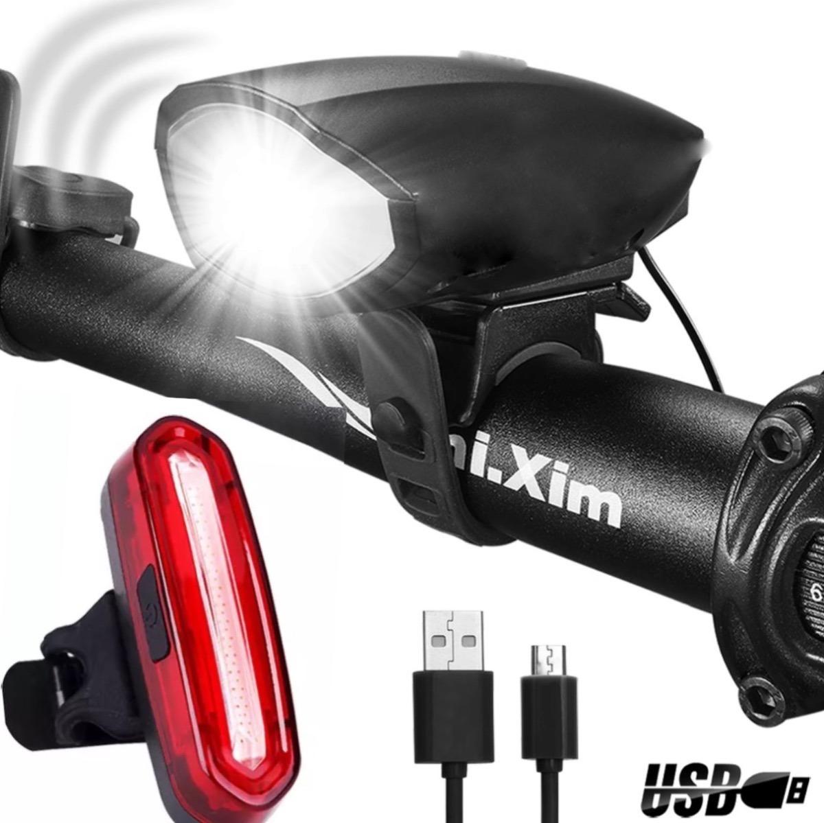 1491bf8cd52a8 kit luz bicicleta delantera con cláxon + luz trasera usb c9. Cargando zoom.