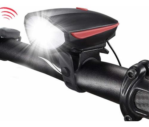 kit luz bicicleta delantera frontal con cláxon eléctrico + luz trasera seguridad recargables usb