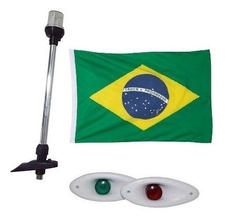 kit luz de navegação led olho de tubarão + mastro + bandeira