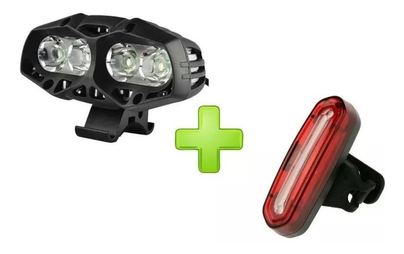 Kit Luz De Bicicleta Recargable Luz Delantera Y La Luz Trasera Incluye Cable USB