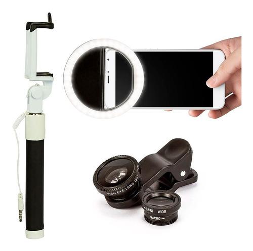 kit luz selfie ring light  anel + 3 luneta + pau de selfie