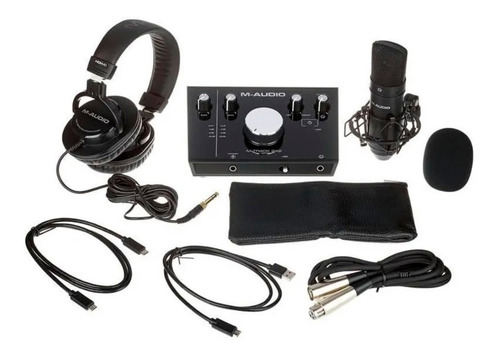 kit m-audio m-track 2x2 vocal studio pro interface + mic + f