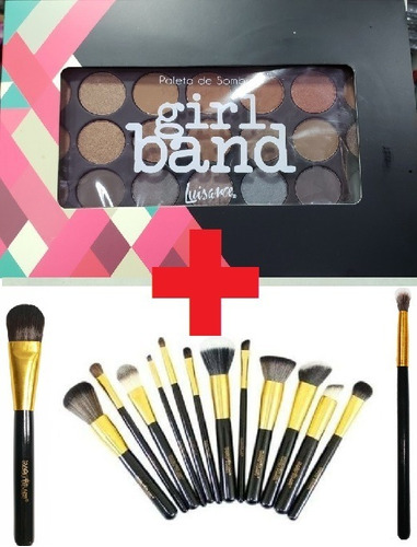 kit make - paleta girl band + 14 pincéis gold macrilan