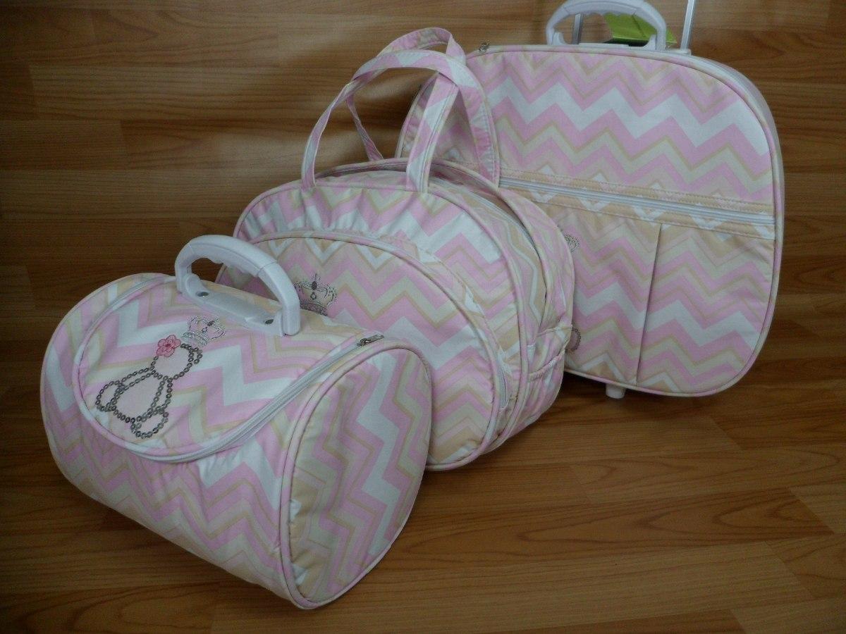 ad04e1ae05 kit mala maternidade 3 peças rosa chevron frete grátis. Carregando zoom.
