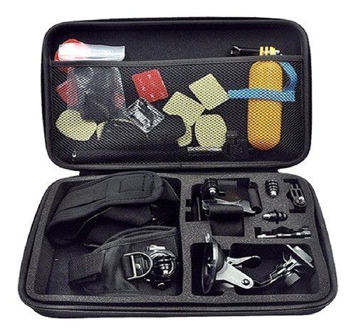 kit maleta 50 accesorios para cámara gopro y deportiva
