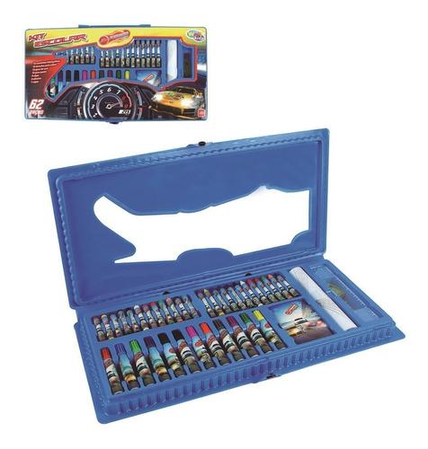 kit maleta escolar cor azul desenhos colorir 62pçs estojo co
