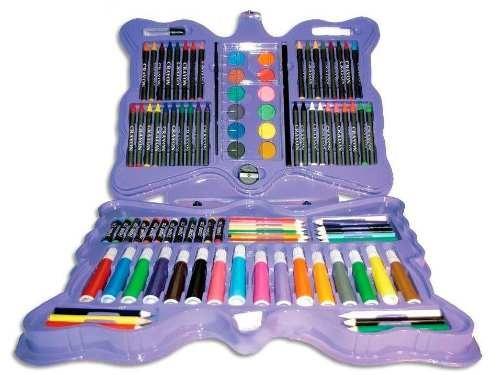 kit maleta escolar pintura 101 peças canetinha estojo menina