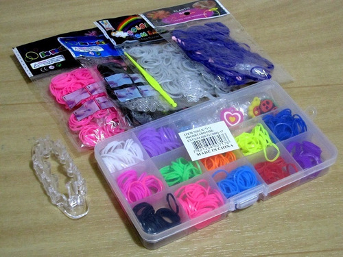 kit maleta fabrica tear 1500 elasticos pulseiras loom bands