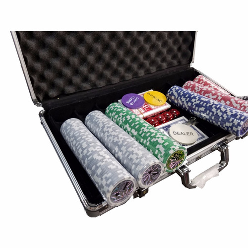 kit maleta poker 300 fichas chip luxo para texas holdem