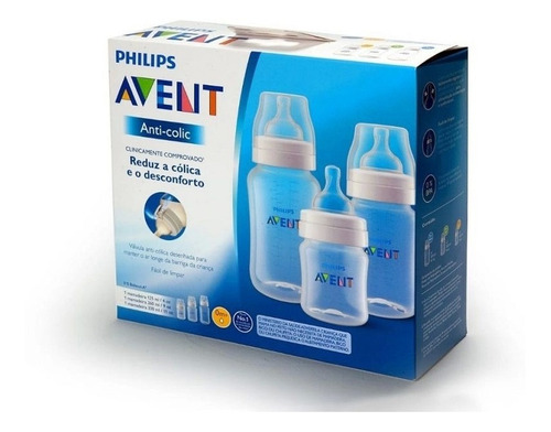 kit mamadeiras anti-colic 125ml 260ml e 330ml