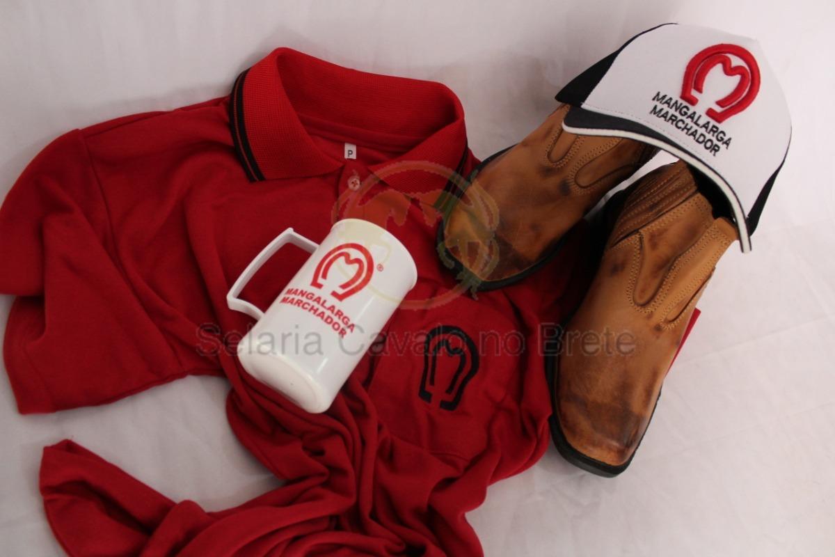 kit mangalarga camisa + botina de couro masculina + brindes. Carregando  zoom. c2e1a25e3cd