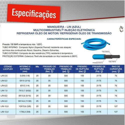 kit mangueira 5mm injeção eletronica 5 mt combustivel azul