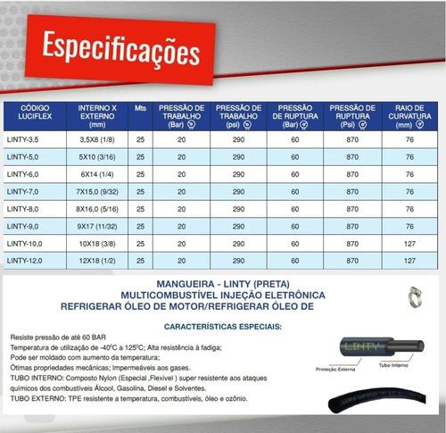 kit mangueira 6mm injeção eletronica 10 mt combustivel preta