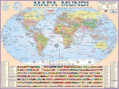 kit mapa mundi + brasil escolar 120 x 90cm - enrolado + tubo