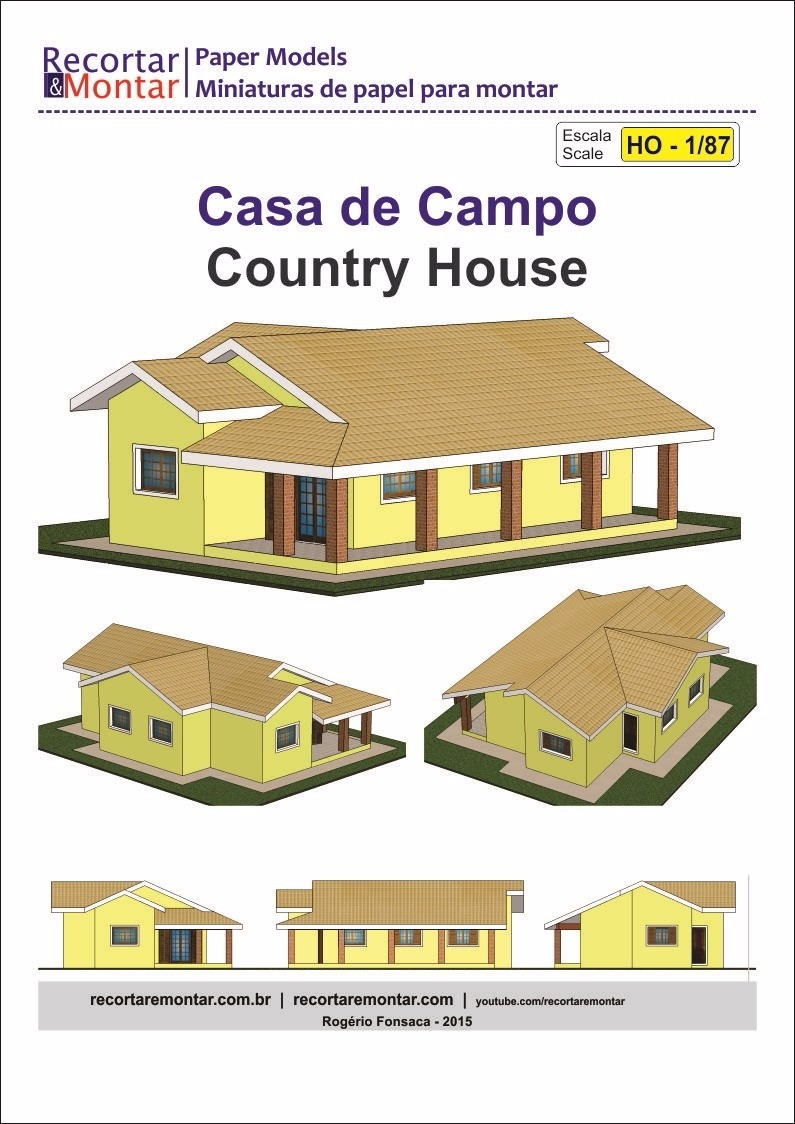 Kit Maquete P Imprimir E Montar 1 87 Casa Campo Piscina Poco R