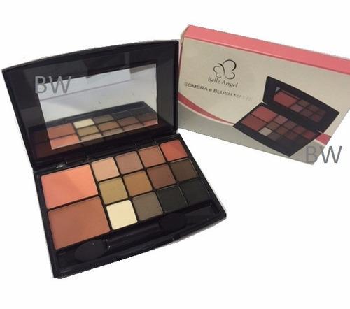 kit maquiagem paleta sombras matte + blush + pincel