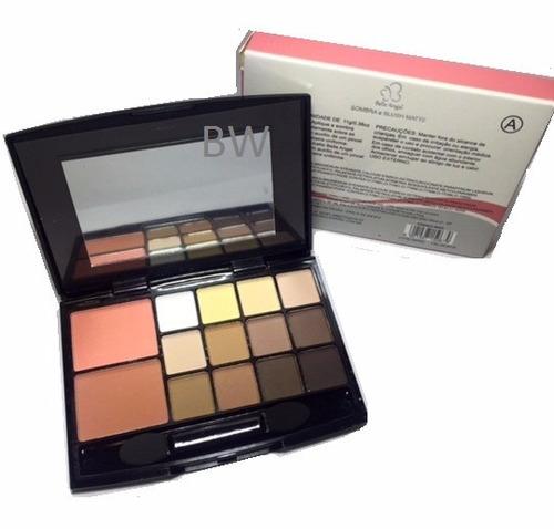 kit maquiagem paleta sombras matte + blush + pincel = naked