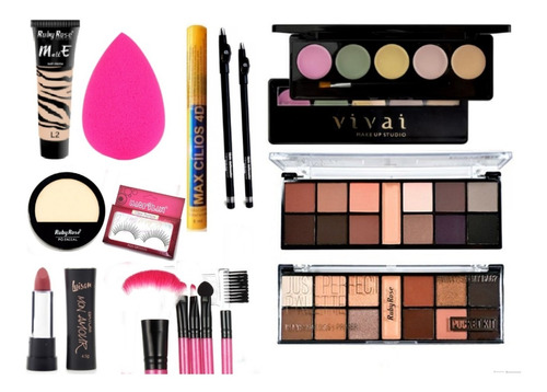 kit maquiagem profissional + ruby rose + iluminador