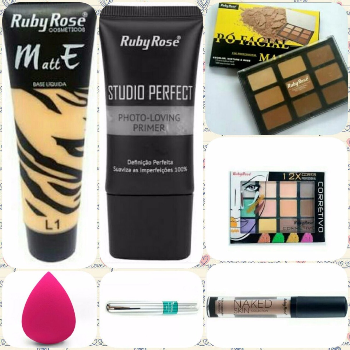 Kit Maquiagem Ruby Rose E Bella Femme Vem Com 7 Produtos