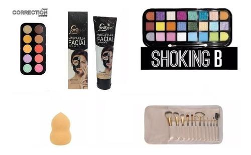 kit maquillaje completo, mascara, paletas, manta, esponja
