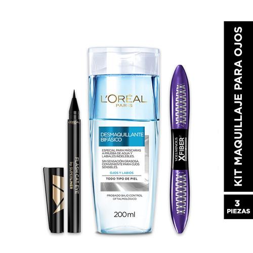 kit maquillaje: desmaquillante + mascara + liner l'oréal