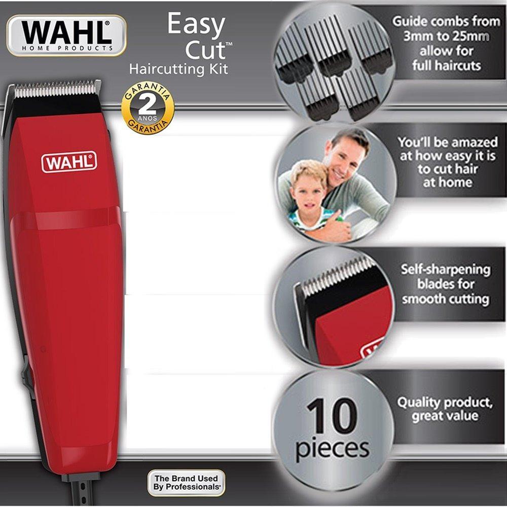 81e187649 kit máquina cortar cabelo barba wahl easy cut vermelha 220v. Carregando zoom .