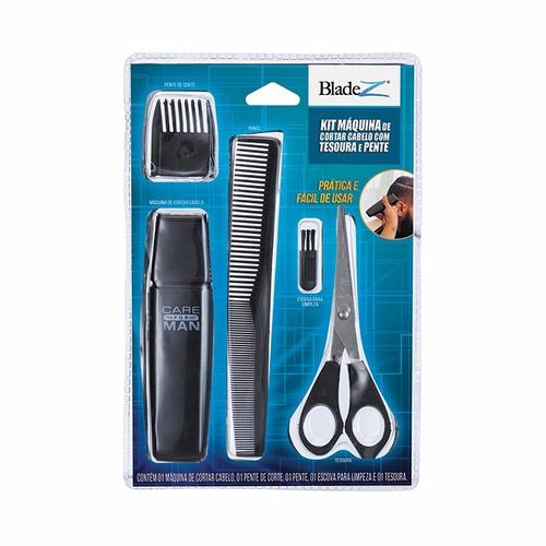 kit maquina cortar cabelo com tesoura pente e acessórios.