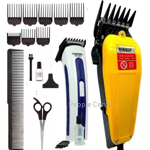 kit maquina cortar cabelo + maquina barbeador recarregavel