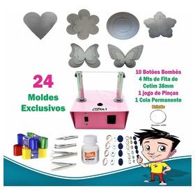 Kit Maquina Cortar Fita Fuxico Flores + 24 Moldes Exclusivos