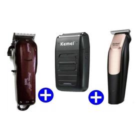 Kit Máquina Kemei Magic Clip 2600 + Kemei 3202+ Shaver Só Hj