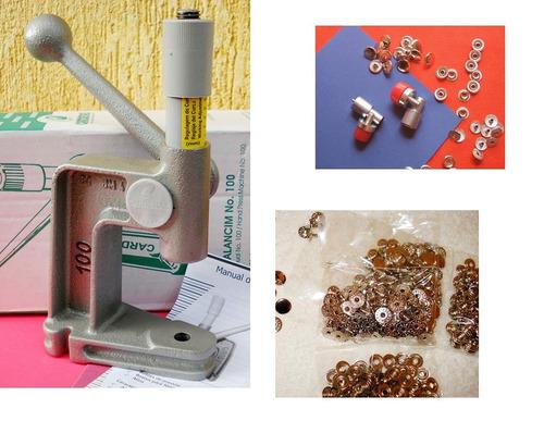 kit - maquina / prensa p/  botão de pressão.