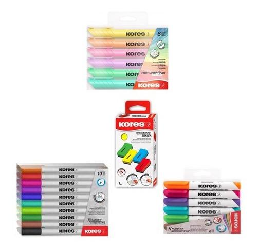 kit marcadores tablero y resaltador pastel