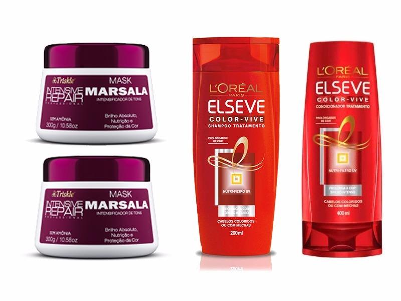 731075f92 Kit Marsala Mask Mascara + Kit Sh E Cond Elseve Colorvive - R$ 94,80 ...