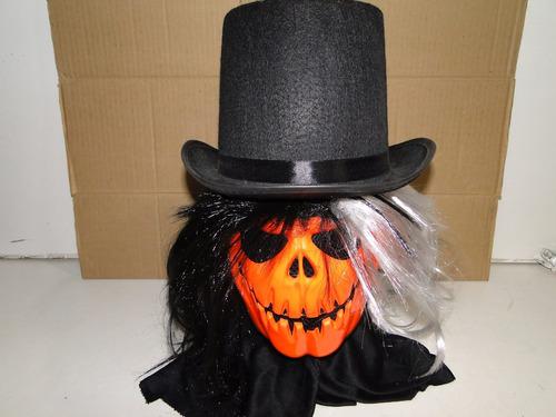 kit mascara abobora e peruca e cartola halloween fredy jason