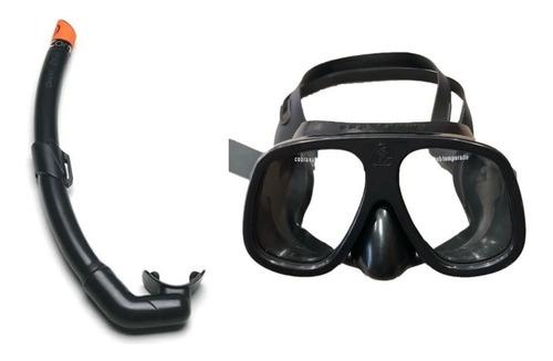 kit máscara cobra super puma + snorkel - mergulho pesca sub