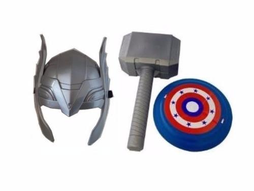 kit máscara + martelo thor e escudo capitão américa