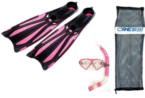 kit mascara nadadeira e esnorquel  mergulho cetus fast
