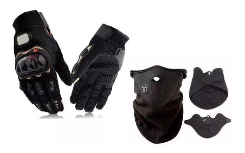 kit mascara neoprene termica + guantes pro biker devotobikes