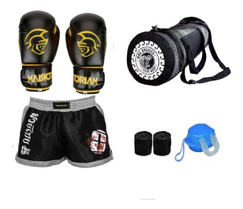 kit masculino thai boxe pretorian, short acessórios