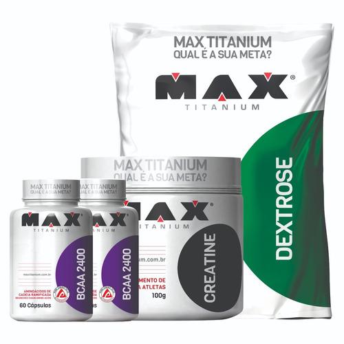 kit massa muscular 1 dextrose+2 bcaa +1 creatine maxtitanium