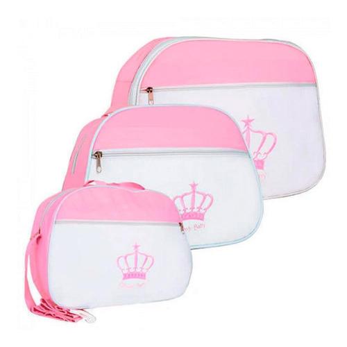 kit maternidade mamãe e bebê bolsas barato 3 peças azul rosa
